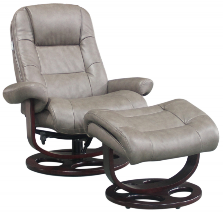 Jacque Pedestal Recliner and Ottoman - Chelsea Cobblestone/Leather Match