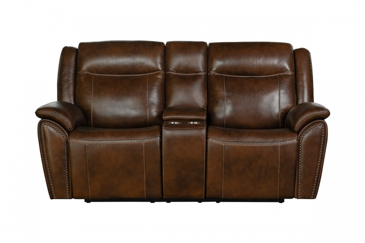Holbrook Power Reclining Loveseat with Power Head Rests and Lumbar - Venzia Brown/Leather Match