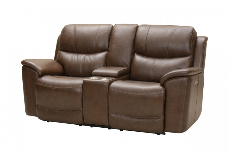 Kaden Power Reclining Console Loveseat with Power Head Rests and Lumbar - Jarod Brown/Leather Match