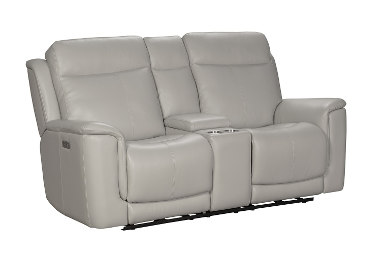 Burbank Power Reclining Console Loveseat with Power Head Rests and Lumbar - Laurel Cream/Leather match