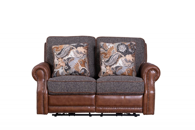 Jefferson Power Reclining Loveseat - Ryegate Tawny all leather/Eddystone Arabica fabric