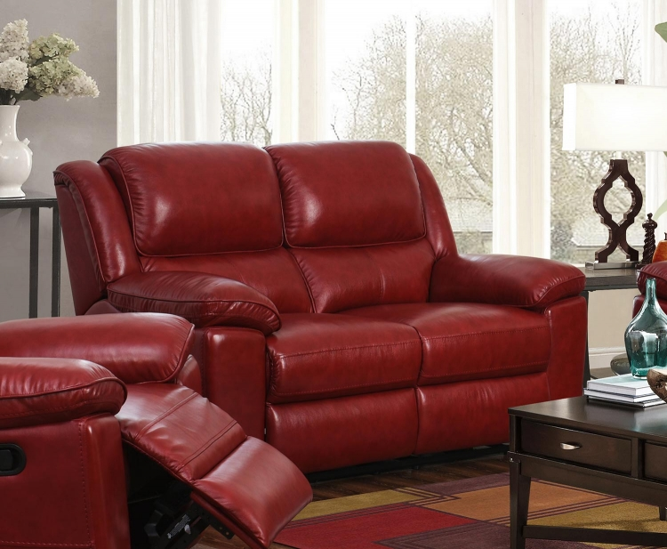 Laguna Power Reclining Loveseat - Contact Red/Leather Match