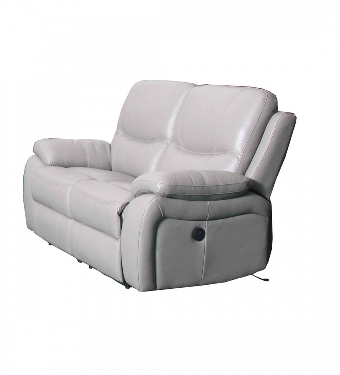 Laguna Power Reclining Loveseat - Cashmere White/Leather Match