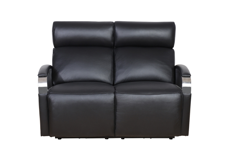 Cosmo Power Reclining Loveseat with Power Head Rests - Apollo Onyx/Leather Match