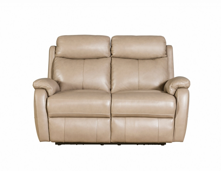 Brockton Power Reclining Loveseat with Power Head Rests - Gable Twine/Leather Match