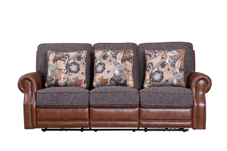 Jefferson Power Reclining Sofa - Ryegate Tawny all leather/Eddystone Arabica fabric