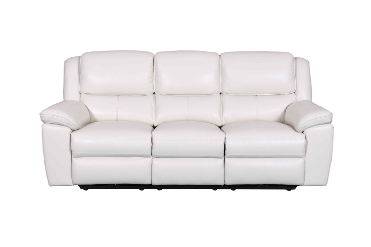 Laguna Power Reclining Sofa - Cashmere White/Leather Match