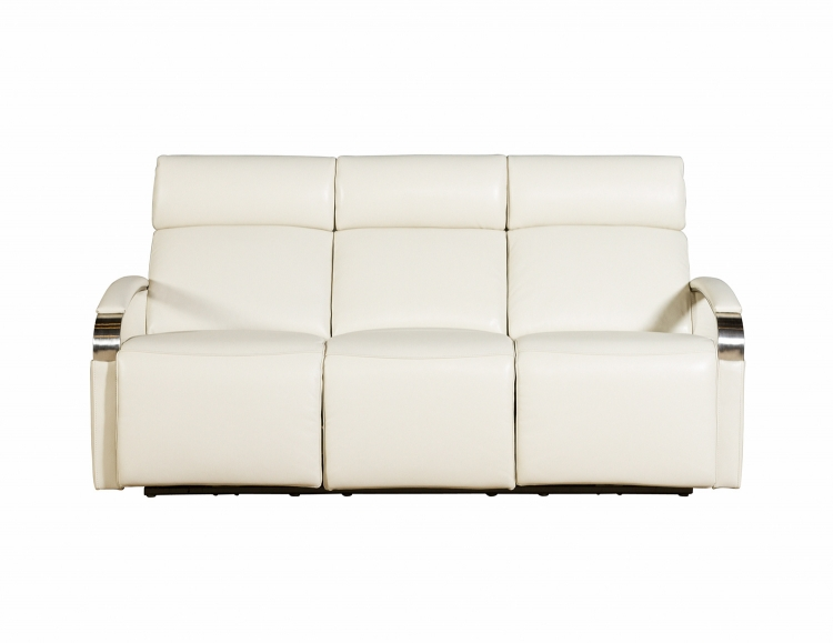 Cosmo Power Reclining Sofa with Power Head Rests - Cashmere White/Leather Match