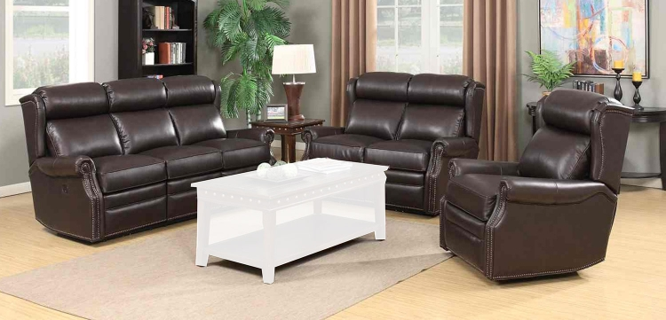 Southington Power Reclining Sofa Set with Power Head Rests - Shoreham Dark Umber/All Leather
