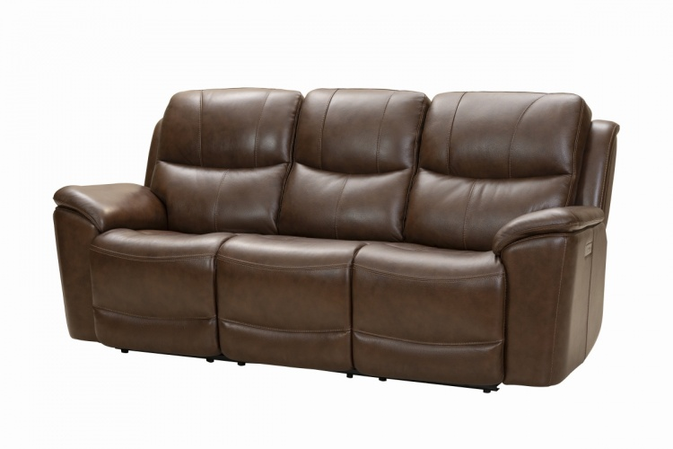 Kaden Power Reclining Sofa with Power Head Rests and Lumbar - Jarod Brown/Leather Match