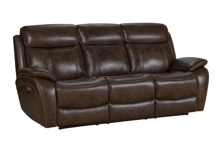 Sandover Power Reclining Sofa with Power Head Rests and Lumbar - Tri-Tone Chocolate/Leather match
