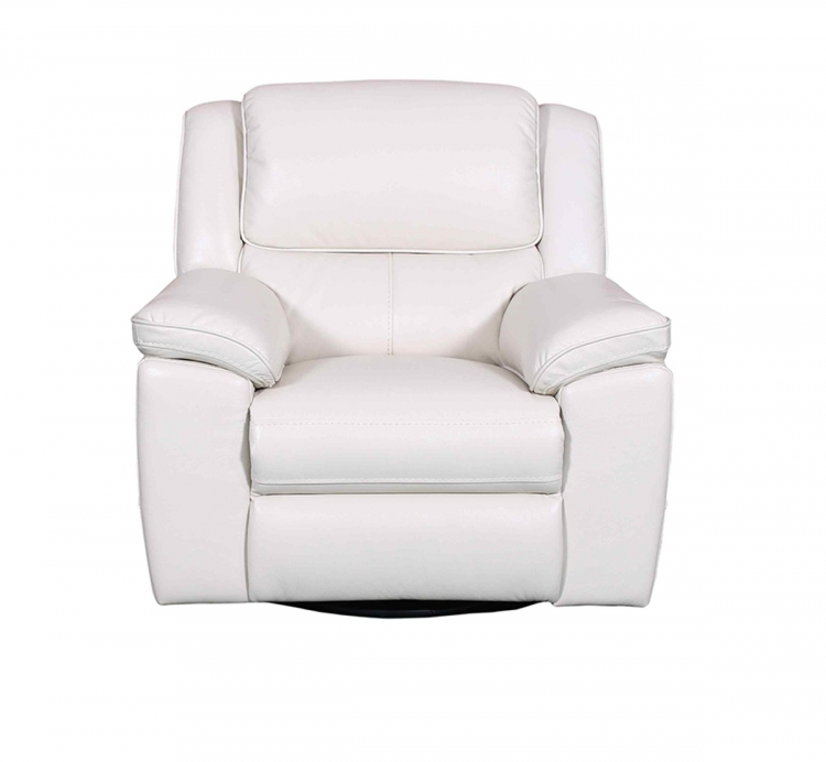 Laguna Swivel Glider Recliner Chair - Cashmere White/Leather Match