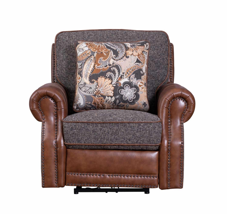 Jefferson Power Recliner Chair - Ryegate Tawny all leather/Eddystone Arabica fabric