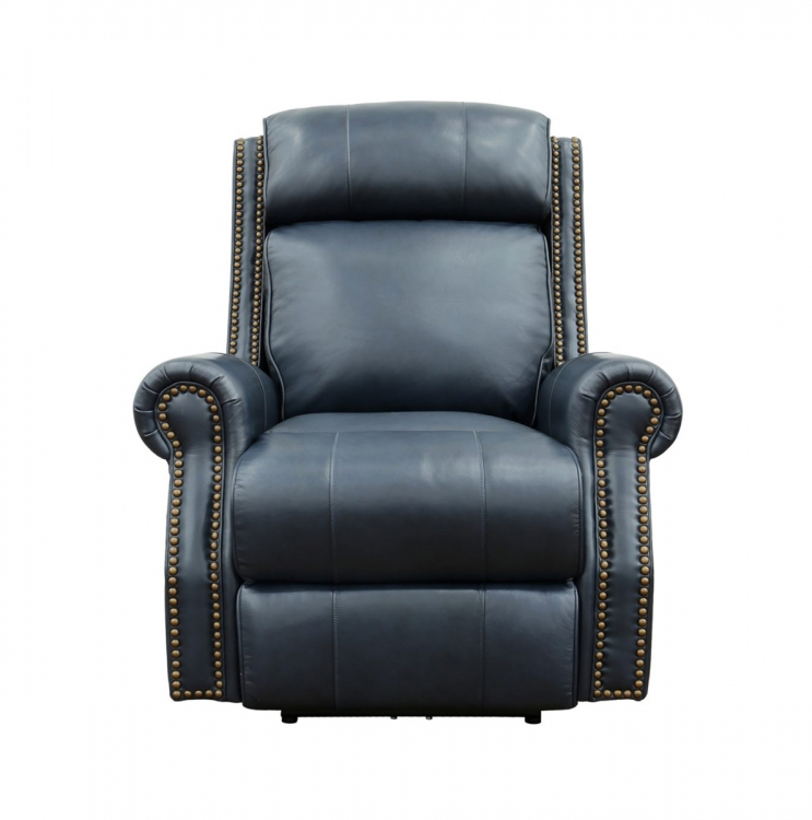 Blair Big and Tall Power Recliner Chair with Power Head Rest - Shoreham Blue/all leather