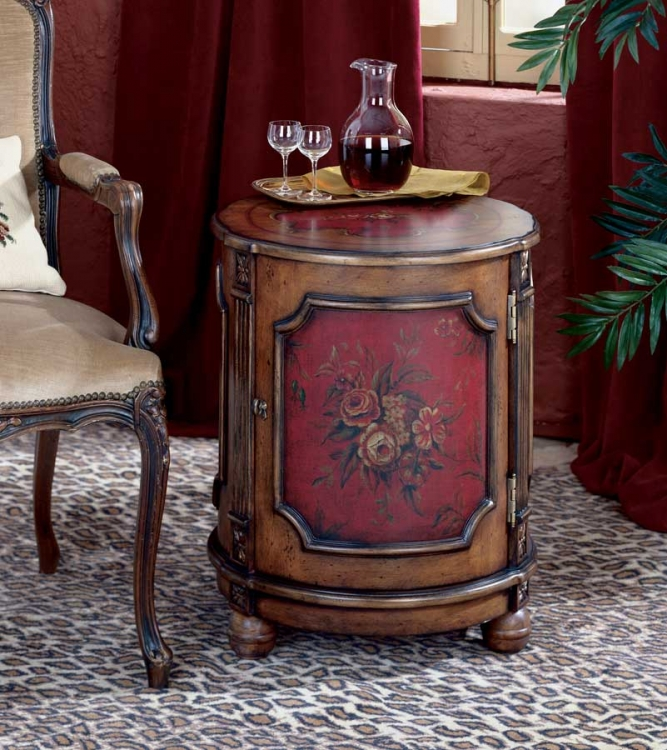 0584065 Red Hand Painted Drum Table