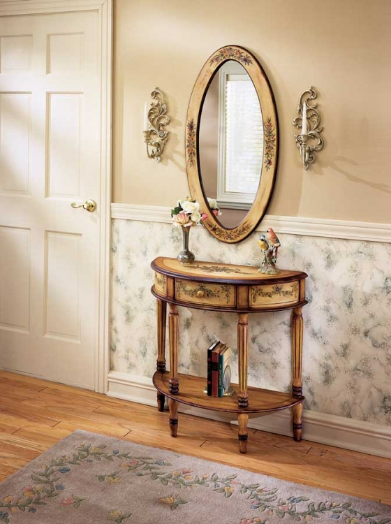 0667051 Light Hand Painted Demilune Console Table