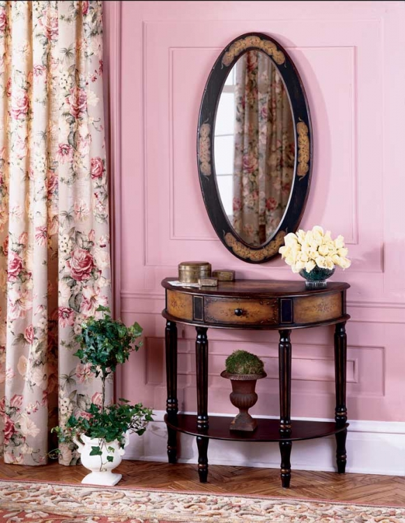 0667059 Coffee Hand Painted Demilune Console Table