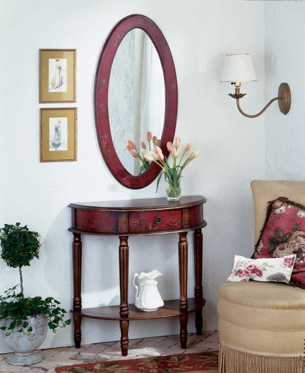 Red Hand Painted Demilune Console Table