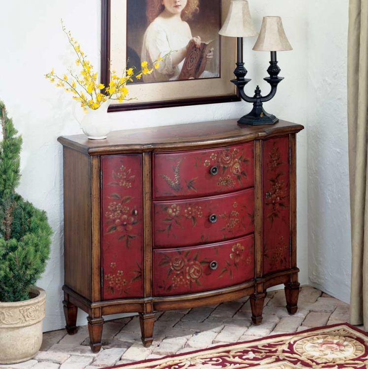 0674065 Red Hand Painted Console Cabinet - Butler