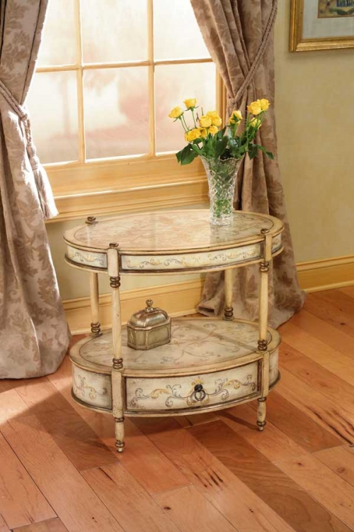 0822041 Oval Accent Table - Tuscan Cream Hand Painted