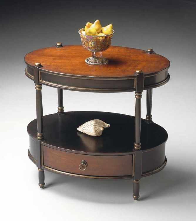 0822104 Cafe Noir Oval Accent Table - Butler