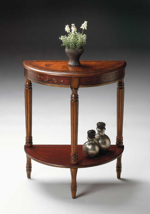 0889176 Cherry and Red Paint Demilune Console Table