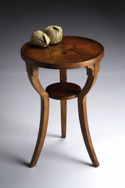 1328101 Olive Ash Burl Round Accent Table