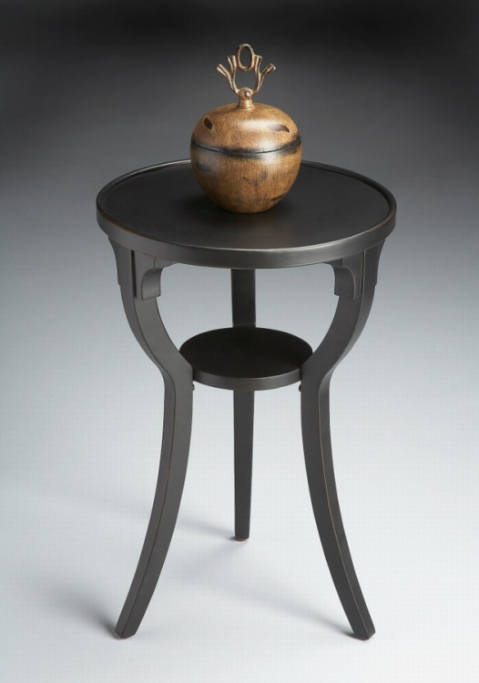 1328111 Black Licorice Round Accent Table