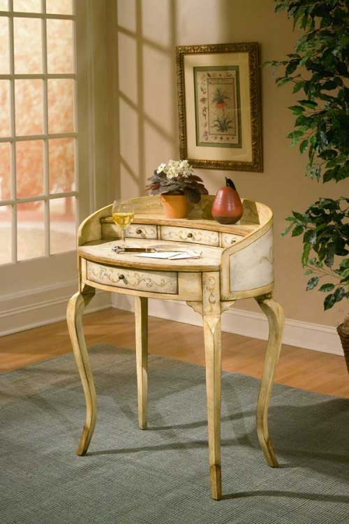 1335041 Tuscan Cream Hand Painted Ladies Writing Desk - Butler