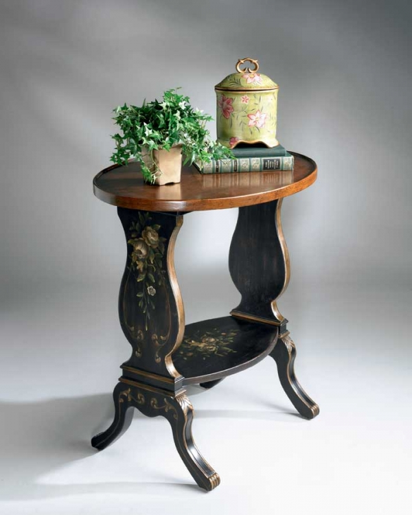 1336088 Regal Black Hand Painted Accent Table - Butler