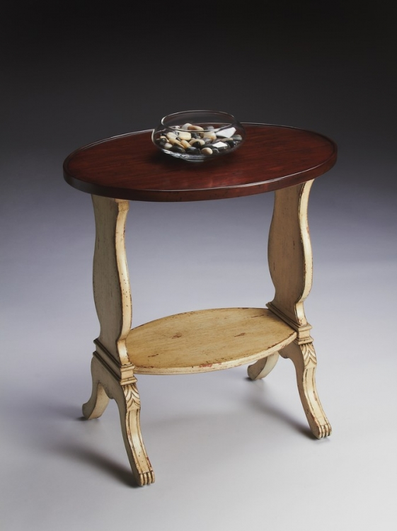 1336115 Vanilla and Cherry Oval Accent Table - Butler
