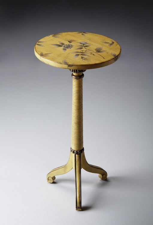 1583196 Yellow Floral Pedestal Table