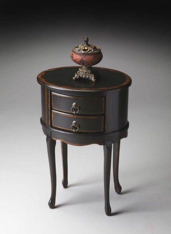 1589250 Oval Side Table - Midnight Rose