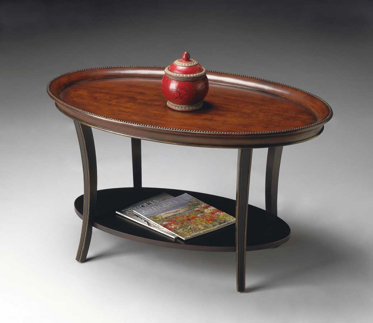 1591104 Cafe Noir Oval Cocktail Table - Butler