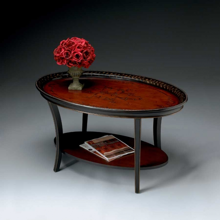1591186 Traditional Red and Black Oval Cocktail Table