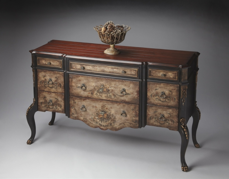 1602243 Old World Floral Console Chest - Butler