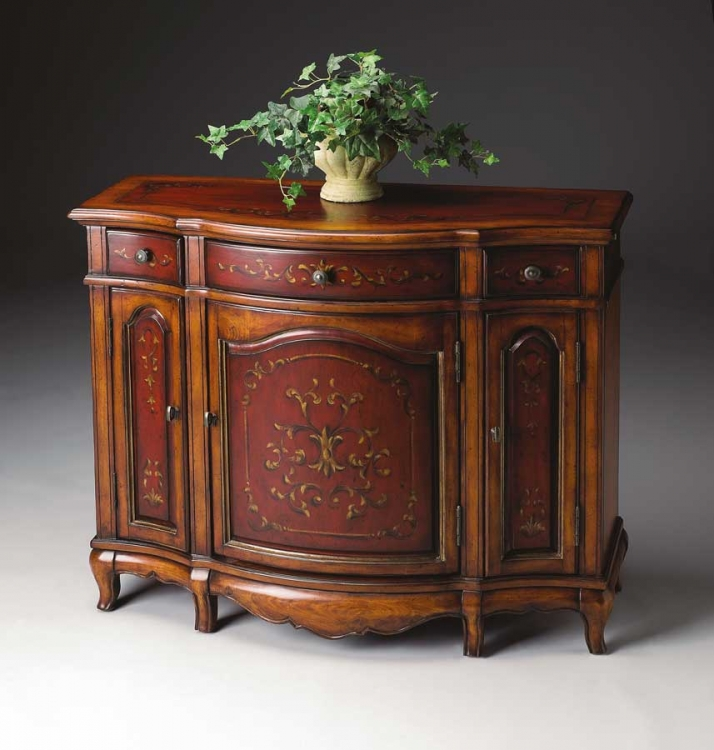 1684176 Cherry and Red Paint Console Cabinet - Butler