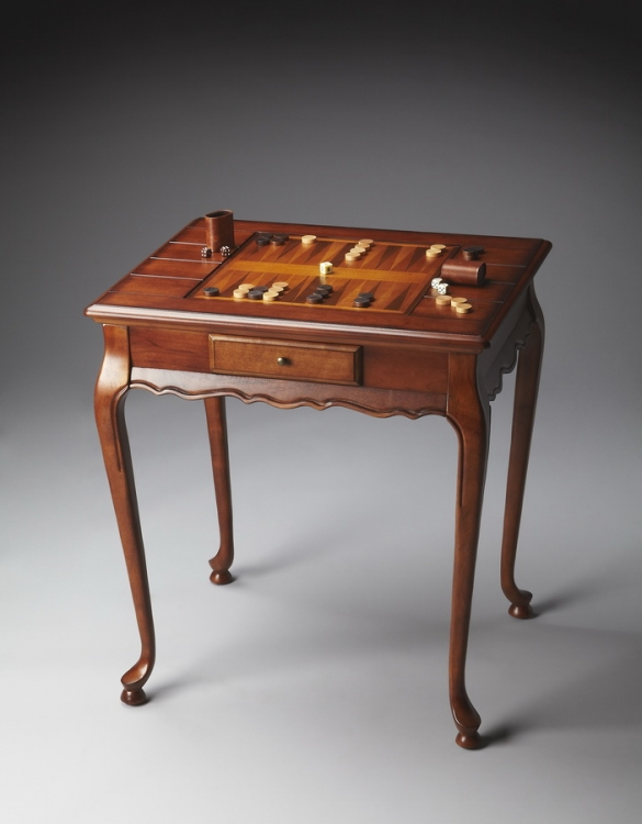 1694101 Olive Ash Burl Game Table - Butler