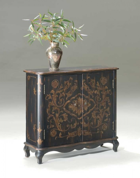 1737177 European Black Console Chest