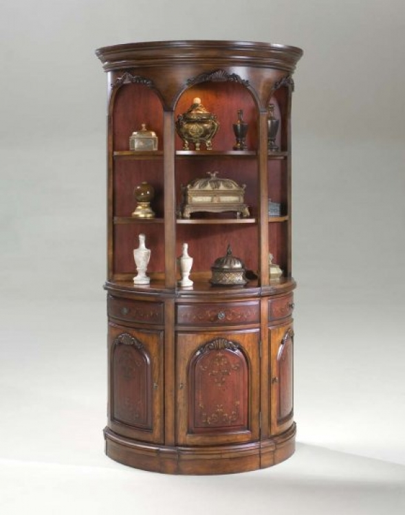 1803176 Cherry and Red Painted Demilune Hutch - Butler