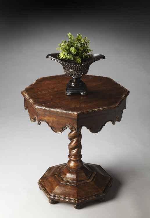 2132228 Octagonal Accent Table - Tobacco Leaf - Butler