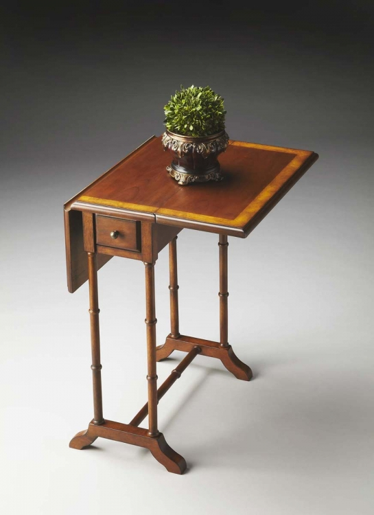 2334101 Drop-Leaf Table - Olive Ash Burl