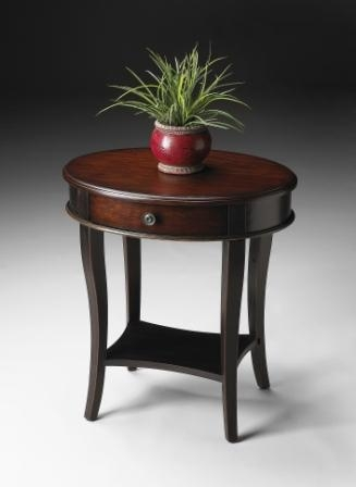 2417104 Cafe Noir Oval Accent Table - Butler