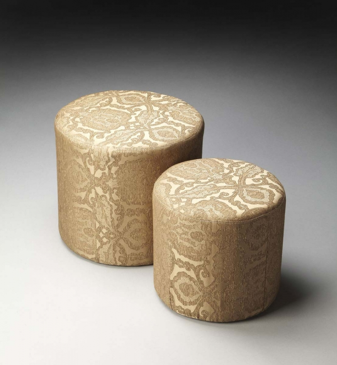 2953986 Nesting Ottomans - Gold Damask Fabric - Butler