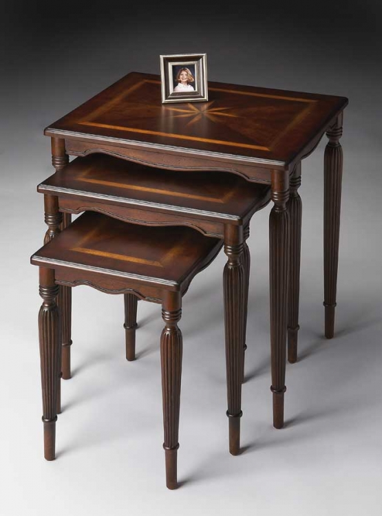 3021024 Plantation Cherry Nest Of Tables - Butler