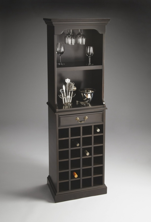 3027234 Rubbed Black Wine Storage Cabinet - Butler