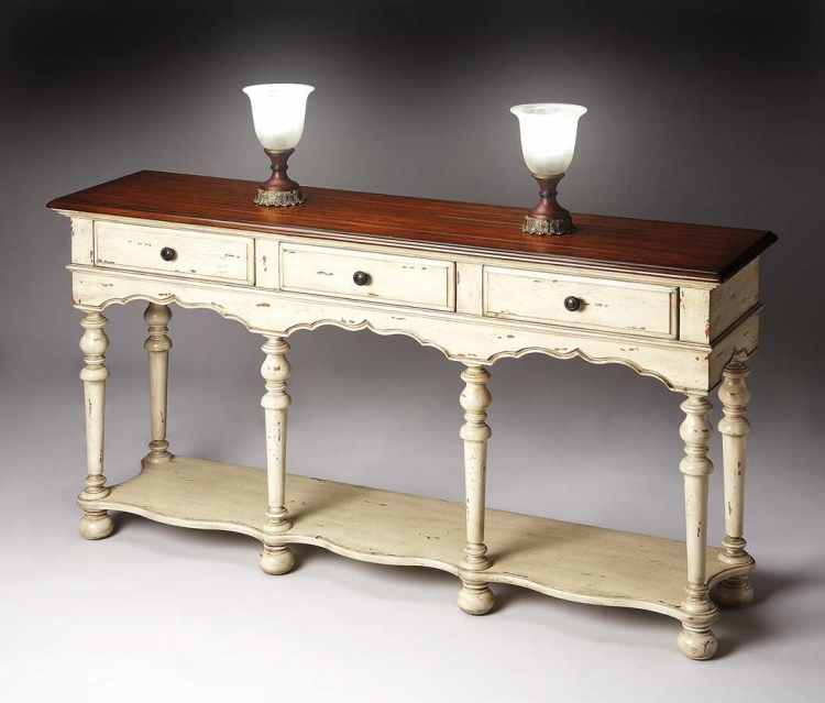 3046115 Vanilla and Cherry Console Table - Butler