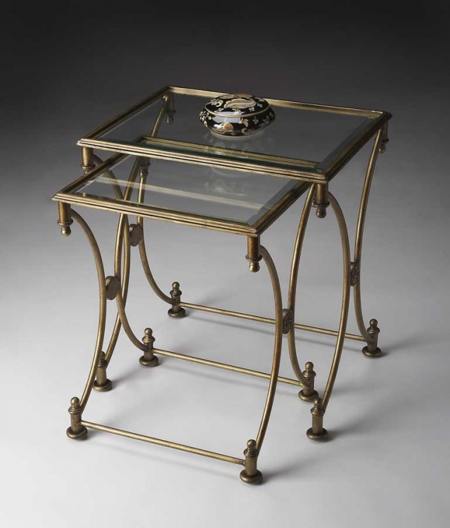 4012226 Antique Gold Nesting Tables - Butler
