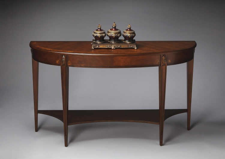 4146251 Antique Cherry Demilune Console Table