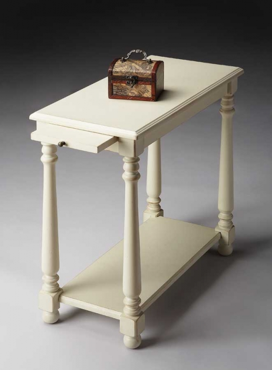5017222 Cottage White Chairside Table
